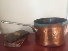 Unique Antique Vintage Large English Copper Pot Pan Sauce Top Hammered Engraved