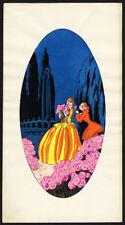 Antique Hand Coloured Print-ROMANCE-SCENE FLOWERS-1899