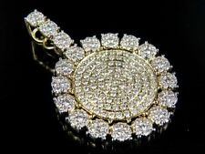 Men's 10K Yellow Gold Genuine Diamond Cluster Medallion Pendant Charm 4 Ct 1.75""