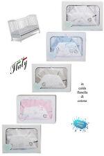 Completo lenzuola neonato CULLA/LETTINO 120 x 180 in FLANELLA  ricamata T&R_BABY