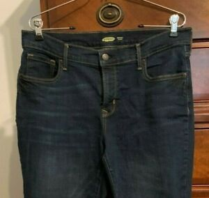 Old Navy Women's Size 12 Long Original Straight Mid Rise Dark Rinse Jeans