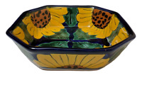 Mexican Talavera Green with Colbolt Blue with sunflower Bowl Dish