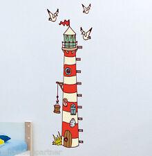 Messlatte Wandtattoo Kinderzimmer Kind Kinder Leuchtturm 3 Möwen Selbstklebend