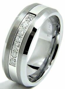 Men's Diamond Tungsten Wedding band Ring 8mm Real Diamonds Modern Anniversary