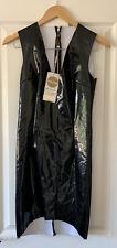 OH POLLY BLACK VINYL PVC BODYCON DRESS UK 10 NEW