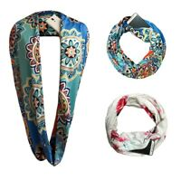 Women Print Winter Convertible Infinity Scarf Pocket Loop Zipper Pocket Scarves
