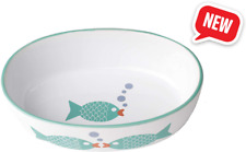 New listing Fish ball oval stone bowl for cats 6.5 inches long 2 inches wide 2 inches high