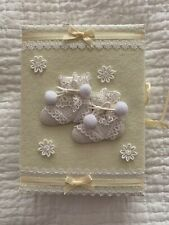 YellowWhite Baby Album Holds 112 Photos 3X5 or 4X6 Appliqué Booties Cover