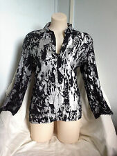 Womens GAL Collared Top Size M/12-14 Black Silver Paint Pattern