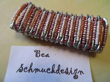 Armband gefädelt, SI-Nadeln, Handarbeit, Gummizug, weiß-lila-orange