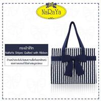 Thailand Handmade Bag NaRaYa Stripes Quilted Tote Bag with Ribbon Cotton Fabric