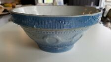 Antique blue and white stoneware wedding ring pattern 8 inch bowl AS IS