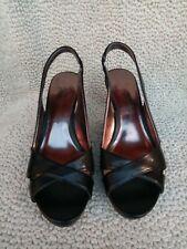ETIENNE AIGNER Black Leather Dress Sandals Size 9.5