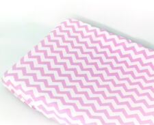 GOOSEBERRY Fitted Change Table Mat Pad Cover Cotton Chevron Pink