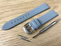 For SEIKO Watch Grey Genuine Leather Strap Band Buckle Mens Ladies