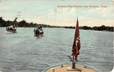 1910 Steamers in Ship Channel Houston TX post card