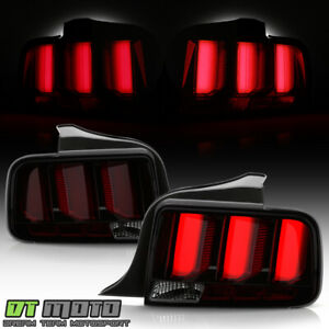 2005-2009 Ford Mustang LED Tube Sequential Turn Tail Lights Lamps Smoked w/ Red