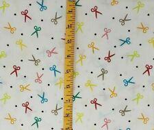 "Fabric 1/4 Yard 100% Cotton Quilt Mask Polka Dot Scissors Hair Stylist 9"" X 44"""