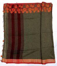 Indian Saree, Brown Jute Linen Saree, Embroidered Saree, Bollywood Sari, Wedding