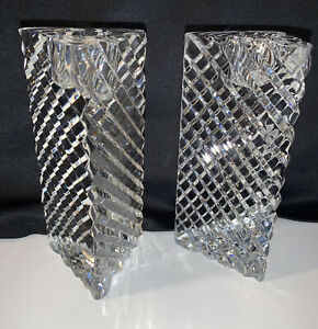 """ROGASKA Triangle Crystal Candlesticks Qty-2 5"""" Three-Sided SIGNED Candle Holder"""