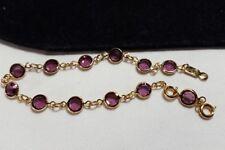 Vintage Gold Authentic Swan Swarovski Crystal Purple Bezel Bracelet