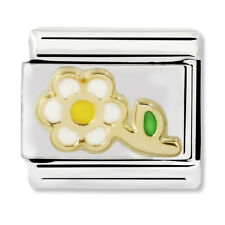 GENUINE Nomination Classic White & Yellow Flower Steel Charm 030214/05 / £22 RRP