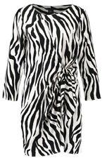 River Island Day Dress Womens Size 8 Cream Off-White Animal Print 3/4 Sleeve NEW