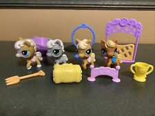 Littlest Pet Shop Lot 4 Horse Pony & Accessories Tan Brown Grey
