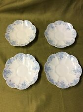 Vintage Wileman Shelley Foley China Floral blue white saucer plates set of 4