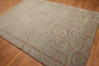 6' x 9' Superfine Tibetan Hand Knotted Wool Area Rug Transitional 6x9 ft Gray