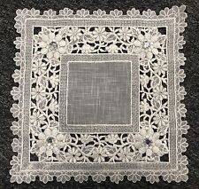 """6 Pieces 10"""" Embroidery Handmade Rhine Stone Doily Doilies - Square White Silver"""