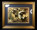 Old World Italian Style Gold Foiled World Map Framed Matted Glass Art Wall Decor