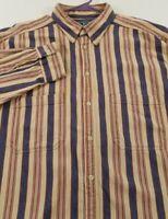VTG Woolrich Men's Long Sleeve Button Up Shirt XL Beige Blue Red Stripes Pockets