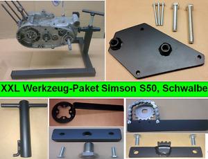 Simson Werkzeug Paket, Spezialwerkzeug, Motorständer + 6 Werkzeuge S50 S51 KR51