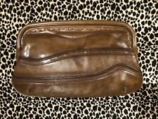 OROTON Vintage Brown Leather Clutch Bag Hinged Top Open *EXQUISITE* & Perfect!!