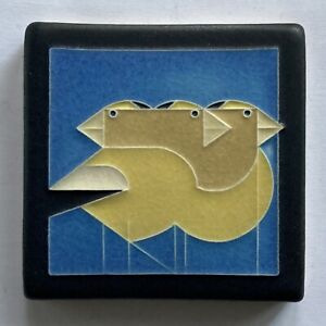 Motawi Art Pottery Tile Gregarious Grosbeaks Art Deco Birds