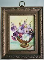 Vintage Signed Oil Painting Still Life Flowers in Vase Macmillan on Canvas Board
