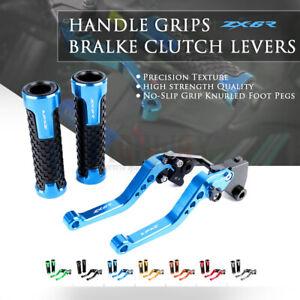 CNC Short Brake Clutch Lever Handle Grips for KAWASAKI NINJA ZX6R 636 07-18