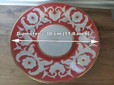 USSR Vintage large Ceramic Plate Pakhta 30 cm red flowers model dessert
