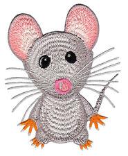 aa37 Maus Hellgrau Grau Aufnäher Bügelbild Tier Flicken Patch 6,5 x 8,5 cm