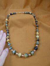 "v318-3) Blue brown tiger's eye graduated gem + copper bead beaded 22.5"" Necklace"