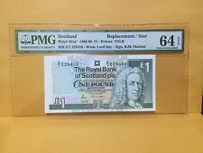 """1988-90(ND)Scotland £1 P351a* """"Replacement/Star"""" Banknote PMG 64 EPQ"""