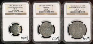 (1683-1785) 3 GERMAN STATE COINS NGC CERTIFIED > CV $950 > GREAT LOT > NO RSRV