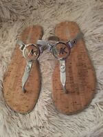 Michael Kors SILVER Logo Charm Jelly Cork Flip Flop Sandals Size 10 NEW