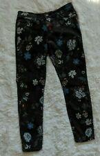 Current Elliot The Stiletto Black Wild Flower Jeans 28