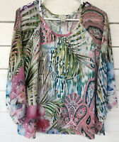 B10 chicos 2 Blouse Sublimation Tropical Floral Pink White Green