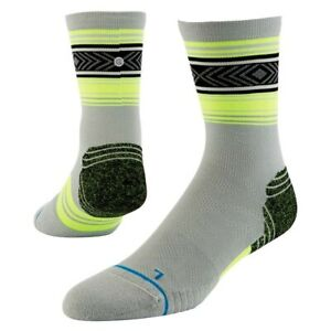STANCE Fusion Run Meter Crew Sock. Grey/Yellow Men's Size MD (7-9) NEW!