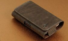 Samsung Galaxy NOTE 5 HOR BROWN XL LEATHER BELT CLIP HOLSTER w CASE ON