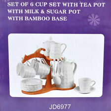 New Pottery Porcelain 21pc Ceramic Coffee English Tea Pot Cup Bamboo Stand Set F