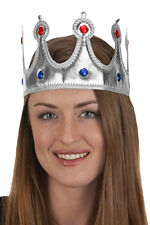 Mens Womens Silver Prince Queen King Princess Crown Costume Adjustable Size